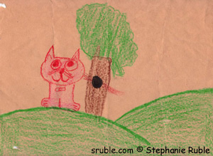 red cat standing in front of hollow tree (there are red whiskers peeking out of the hollow tree)