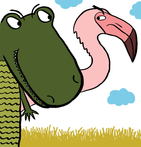 alligator giving the side eye to flamingo, who is glaring back