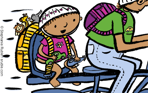 baby in a pink shirt with a flower on it, riding on the back of parent's bike, playing with a toy car & helicopter. A striped yellow backpack full of animal toys is attached to her seat. Her parent is wearing a green shirt with a car on the front and has a purple and pink striped backpack. black outline around figures
