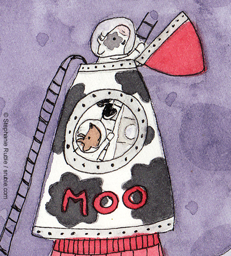 "close up of previous image: cow and goat climbing out of rocketship that has landed on the moon - the rocket ship says ""moo"" on the side"