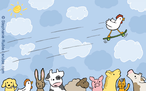 chicken skateboarding over the heads of other farm animals: dog, chicken, bunny, cow, sheep, pig, horse, cat and mouse, and cow