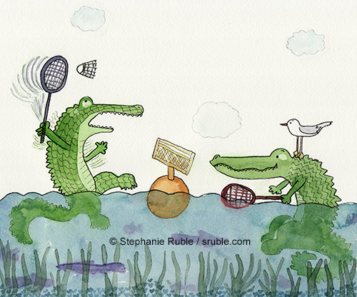 crocodiles playing badminton in the water, with fish swimming under their feet. the croc on the left is waving its arms and the racket trying to hit the badminton birdie. the croc on the right is watching with racket in hand ready to hit the birdie back. there's a seagull on the right croc's head, and the net is on a bouy in between the crocs.