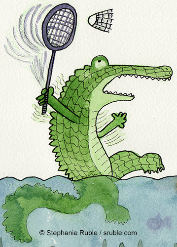 crocodile playing badminton in the water, with fish swimming under their feet. close up of the last image showing the croc on the left, waving its arms and the racket, and trying to hit the badminton birdie.