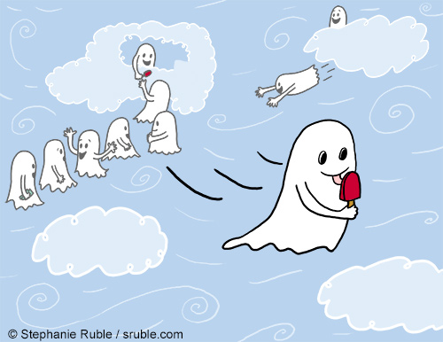 ghosts line up at ice cream truck in the clouds. one ghost flies away with a red Popsicle