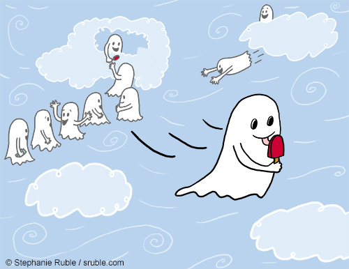 Ghosts lined up at an ice cream truck in the clouds. One ghost flies away with a red Popsicle.