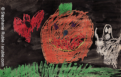 giant orange pumpkin, red bat,  white ghost, and green grass, with a black sky
