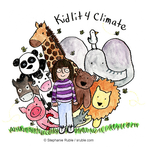 girl in purple striped shirt standing on grass while bees buzz around and animals peek out from behind her (chicken, pig, cow, donkey, panda, giraffe, seagull, elephant, bear, lion, and bunny)