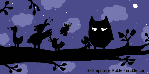 owl and birdies at night in silhouette. birdies singing and small birdy tries to get owl's attention. owl looks wary