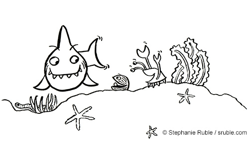 shark on the left with a large grin and crab on the right laughing at clam in the middle telling a joke