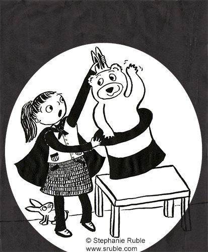 Girl pulling a rabbit out of a hat, except that it's not a rabbit. It's a bear wearing bunny ears! The rabbit is hiding behind the girl's legs.