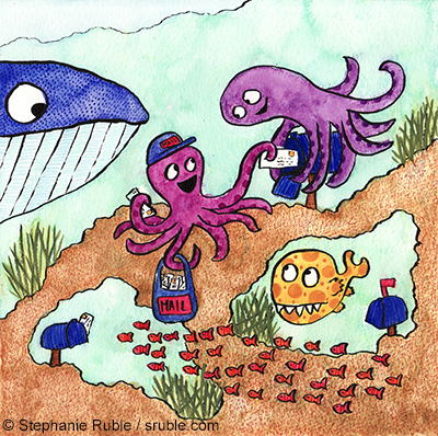 octopus delivering mail to another octopus, with a whale, and spotted yellow fish waiting for their mail, and a school of tiny red fish swimming past to get mail from their mailbox