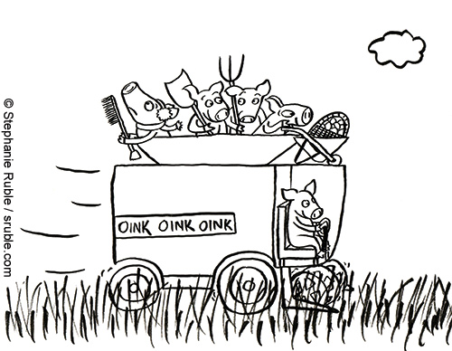 one pig driving a combine and four pigs riding while carrying, a snow brush and wearing ear muffs, a shovel, a pitchfork, and pushing a wheelbarrow full of eggs