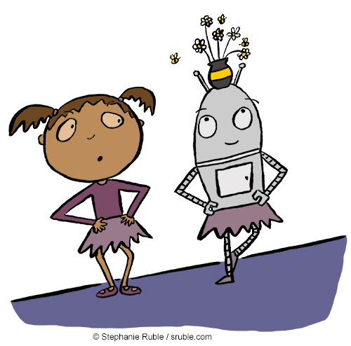 girl giving a robot the side eye because they have a flower vase on their head and bees flying around it. girl and robot are both wearing tutus and are perfoming basic ballet positions