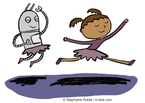a robot and girl are dancing the robot on left jumps into the air, and the girl on the right performs a ballet leap, they're both wearing tutus