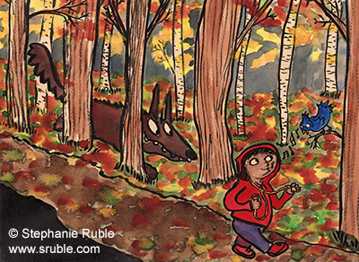 wolf in the woods following a little girl in a red hoodie who is whistling with a blue bird