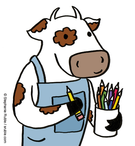 cow in overalls holding a pencil and carrying a cup filled with colored pencils