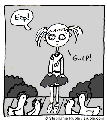 "girl wearing cheerleading uniform and carrying pom poms, with dark circles under her eyes, says, ""Eep!"" and ""GULP!"" There are four chickens standing in front of her."