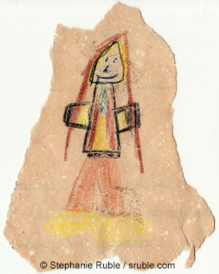child's drawing of a girl with long brown hair, a striped shirt, brown pants, and yellow shoes