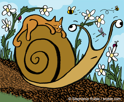 a kitty rides a snail through the garden.