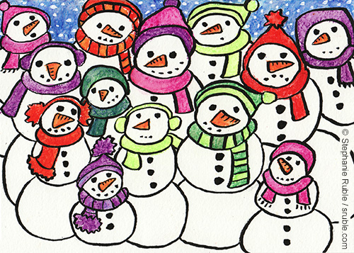 crowd of 13 snow people of different sizes crowded in for a picture, with carrot noses, coal for eyes, mouths, and buttons, wearing hats, scarves, and ear muffs