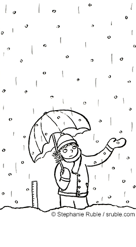 a girl with an umbrella standing in the snow and rain (black line)