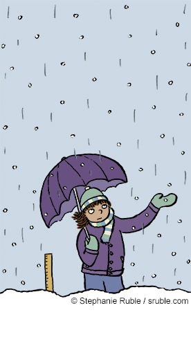 a girl with an umbrella standing in the snow and rain (color)