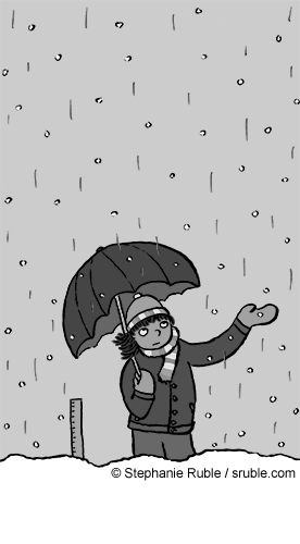 a girl with an umbrella standing in the snow and rain (greyscale)