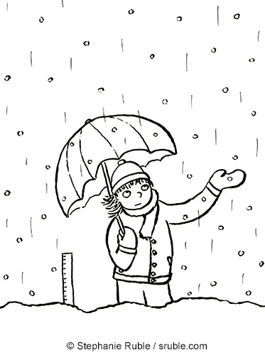 Annoyed girl wearing winter coat, hat, and gloves, carrying an umbrella and trying to figure out why it's both raining and snowing. She's standing next to a ruler to measure the snow, which is being melted by the rain.