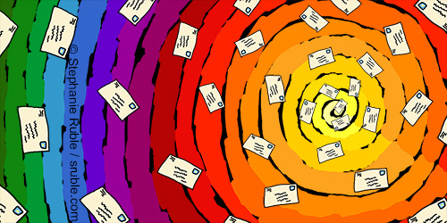 mail swirling through a rainbow of colors toward the center of a spiral