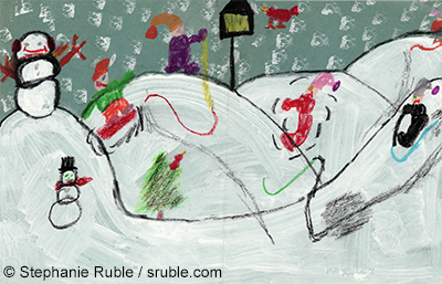 two snowmen on the left, with one on top of the hill and one on the bottom, with a pine tree and little red bird to the right of it, and another red bird at a bird feeder on top of the hill. There are 4 people sledding (one pulling another one and one falling off, and a 5th person partially in the picture in the top right)