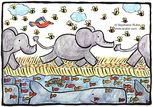 elephants, bees, and a bird on land, and fish, whales, and a sea turtle underwater are all on a journey (going from left to right in the image)