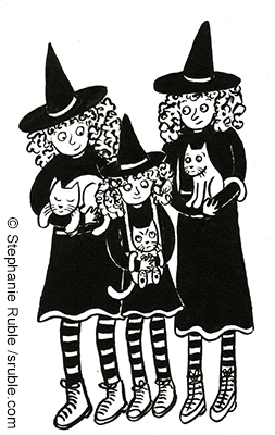 three members of a witch family, each holding a cat