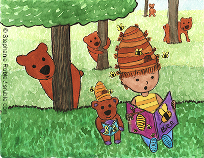 a teddy bear with a beehive on itls head reads a book about bees next to a girl with a beehive for a hairdo, who is also reading a book about bees, and there are four bears hiding behind trees and sneaking up on them