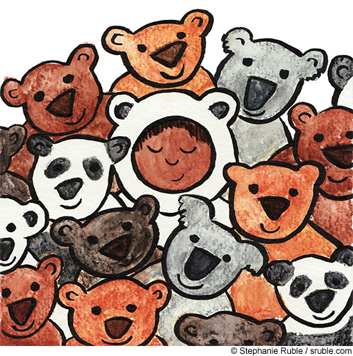 child in a bear suit surrounded by different kinds of teddy bears: brown, black, tan, white, panda, and koala