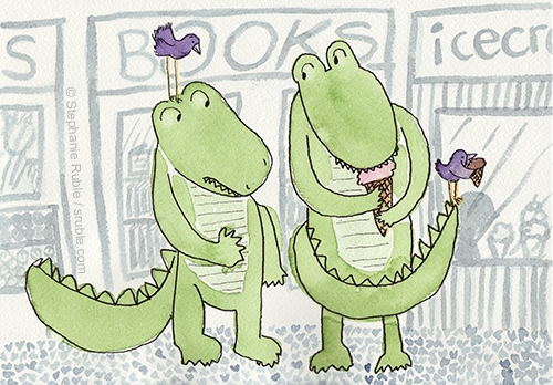 Two crocodiles and two birds in front of shops (from left to right - part of a store that looks like a grocery store, bookstore, and part of a store that sells icecream). Croc on left has purple bird on head. They don't have icecream. Croc on right has purple bird on tip of tail. They both have icecream cones, which the croc and bird on the left are looking longingly at.
