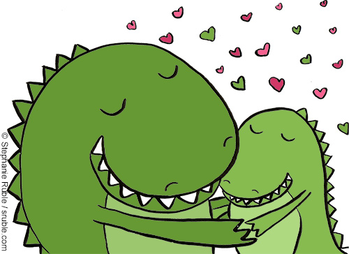 baby dino getting a hug from a big dino with green and pink hearts in the background